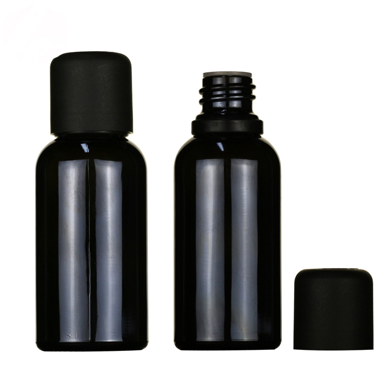 LanJing Chian Supplier 5ml 10ml 15ml 20ml 30ml 50ml 100ml Matte Black Glass Dropper Bottle Serum Bottle