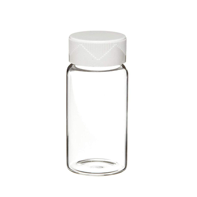 Clear Borosilicate Glass Scintillation Vial with White Urea Screw Cap and Cork-Backed Foil Lined, 24-400mm GPI Thread Finish, 20mL Capacity (Case of 500)